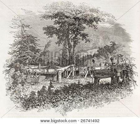 indische Grab am Ufer der Cowlitz River, Washington. erstellt von Sabatier nach Kane, veröffentlicht am