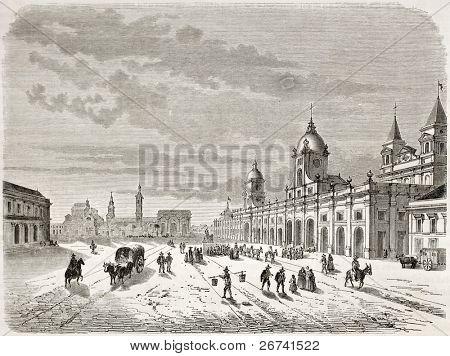 Antiga visão de Santiago. Criado por Lancelot depois atlas de Claude Gay, publicado no Le Tour du Monde, Paris,
