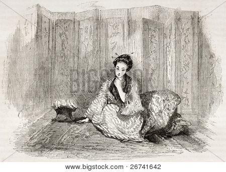 Japanese lady engraved portrait. Created by Marin after Trevise, published on Le Tour du Monde, Paris, 1860