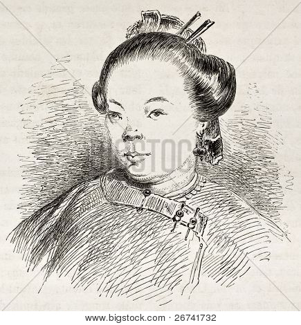 Chinese woman portrait, old illustration.  Created by Dore after Trevise, published on Le Tour du Monde, Paris, 1860