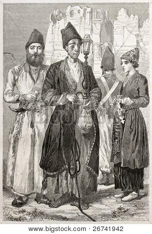Persian men. Created by Laurens, published on Le Tour du Monde, Paris, 1860