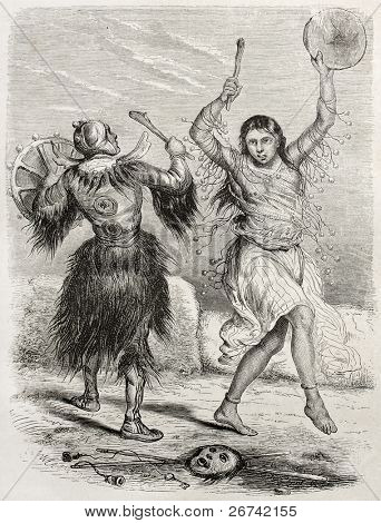 Yacutsk shamans old illustration. Created by Adam after De Rechberg, published on Le Tour du Monde, Paris, 1860