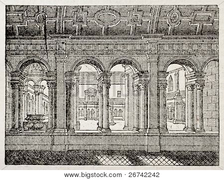 Celestins Cloister old illustration, then profanated during French revolution and demolished. By unidentified author, published on Magasin Pittoresque, Paris, 1840