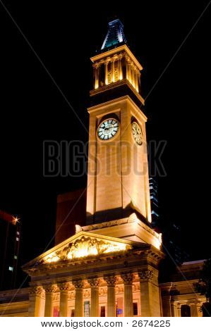 Brisbane City Hall At Night