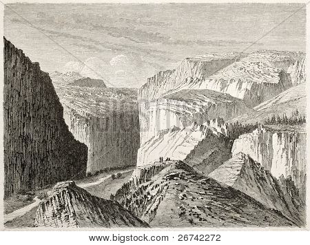 Sierra Wah (ancient toponym) old illustration, California. Created by Lancelot and Peulot, published on Le Tour du Monde, Paris, 1860