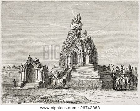 Dragão templo antiga ilustração, Amarapura, Birmânia. Criado por Lancelot depois de Yule, publicado em Le para