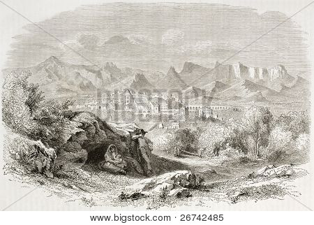 Romeyer valley old view, France. Created by Francais after Muston, published on Le Tour du Monde, Paris, 1860