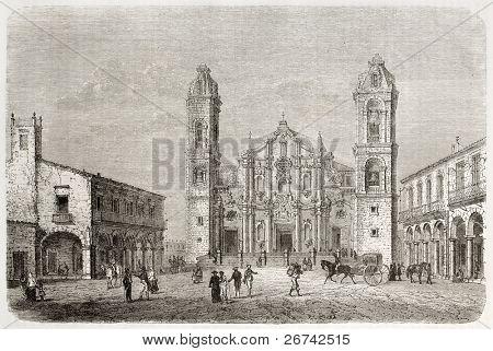 Catedral da antiga visão de Havana, Cuba. Criado por Lancelot, publicado em Le Tour du Monde, Paris, 1860