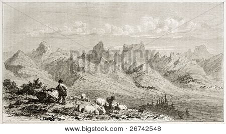 Devoluy range, old view, France. Created by Girardet after Muston, published on Le Tour du Monde, Paris, 1860