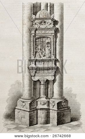 Ex voto from Syderack de Lallaing in Notre-Dame de Saint-Omer, old illustration. By unidentified author, published on Magasin Pittoresque, Paris, 1840