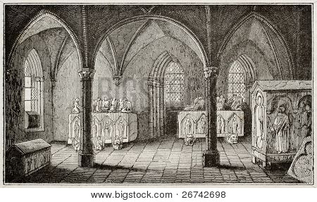 Ines de Castro tomb in Alcobaca monastery, Portugal. By unidentified author, published on Magasin Pittoresque, Paris, 1840