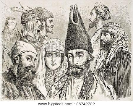 Persian men and woman old illustration. Created by Laurens, published on Le Tour du Monde, Paris, 1860