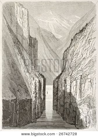 Gudvangen fjord old view, Norway. Created by Dore after Riant, published on Le Tour du Monde, Paris, 1860