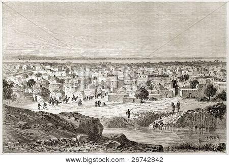Antiga visão de Kano, Nigéria. Criado por Lancelot após Barth, publicado em Le Tour du Monde, Paris, 1860
