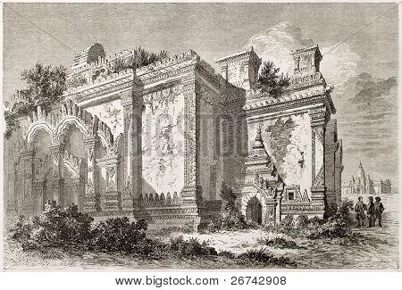 Templo em Bagan, Birmânia. Criado por Lancelot depois de Yule, publicado em Le Tour du Monde, Paris, 1860
