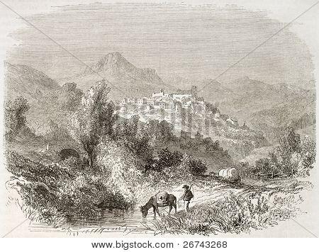 Beaufort-sur-Gervanne old view, France.  Created by Francais after Muston, published on Le Tour du Monde, Paris, 1860