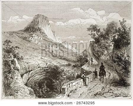 Plain-de-Baix old view with Vellon rock in background. Created by Girardet after Muston, published on Le Tour du Monde, Paris, 1860