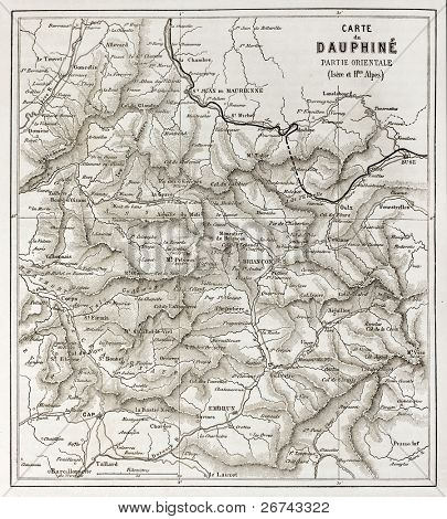Eastern Dauphine old map, France. Created by Vuillemin and Erhard, published on Le Tour du Monde, Paris, 1860