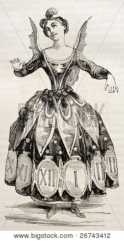 Hours costume old illustration. By unidentified author, published on Magasin pittoresque, Paris, 1842