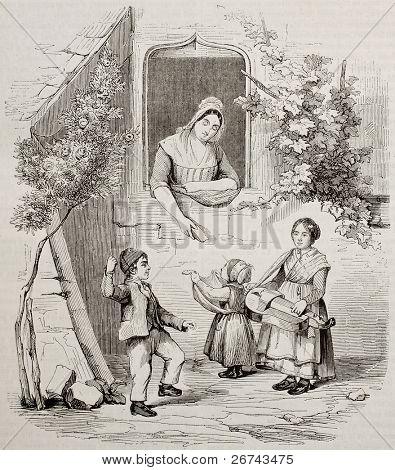 piemontesischen Kindern und Frau alte Abbildung. erstellt von Blondel, veröffentlicht am Magasin pittoresqu