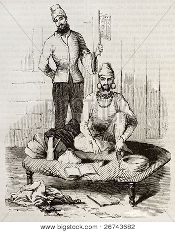 Fakir old illustration. Created by Pendjab, published on Magasin Pittoresque, Paris, 1842