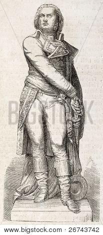 Statue of Marshal Jean-Baptiste Jourdan old illustration, Limoges. Sculpted by By Elias Robert, published on L'Illustration, Journal Universel, Paris, 1860