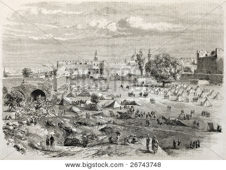 Beirut castle camp during Druze-Maronite conflict. Created by Godefroy-Durand, published on L'Illustration, Journal Universel, Paris, 1860