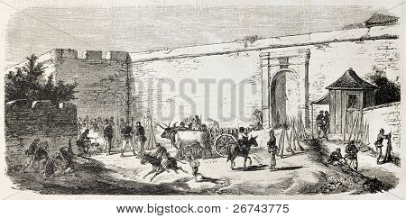 Garibaldian Cosenza division bivouac in Porta Messina, Milazzo, Sicily, Created by Rouargue, published on L'Illustration, Journal Universel, Paris, 1860