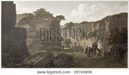 Syracuse antique tombs old illustration, Sicily. Created by De Wint and Hollys, printed by McQueen, publ. in London, 1821. Ed. on Sicilian Scenery, Rodwell and Martins, London, 1823