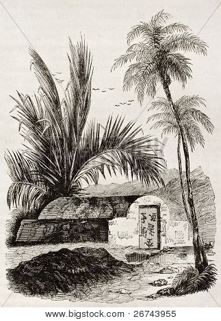 Chinese tomb old illustration, Ambon, Moloku islands. By unidentified author, published on Magasin Pittoresque, Paris, 1842