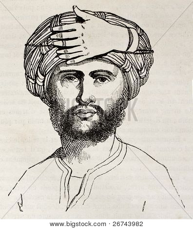 Seven fingers decoration on the officers turban of Abd-el-Kamer army (Algerian chief fighting against French army). By unidentified author, published on Magasin Pittoresque, Paris, 1842