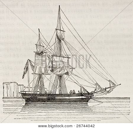 Quaiche old illustration, antique vessel. By unidentified author, published on Magasin Pittoresque, Paris, 1842