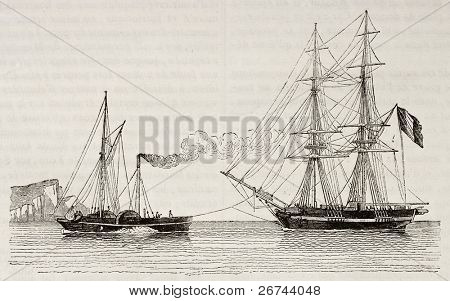Tug boat towing a merchant brig, old illustration. By unidentified author, published on Magasin Pittoresque, Paris, 1842