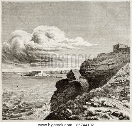 Francois-Rene de Chateaubriand tomb in front of the sea in Grand Be, near Saint-Malo, France. By unidentified author, published on Magasin Pittoresque, Paris, 1842