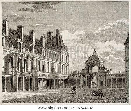 Palace of Fointainebleau: oval court and port Dauphine old view. By unidentified author, published on Magasin Pittoresque, Paris, 1843
