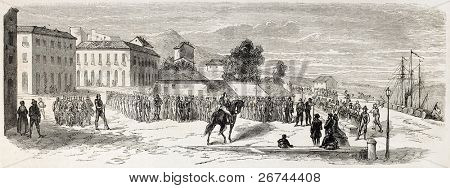 Troops departure from Messina for expedition in Calabria, Italy. Created by Lhernault, published on L'Illustration, Journal Universel, Paris, 1860