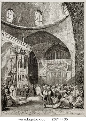 Sinagogue interior old illustration, Jerusalem. By unidentified author, published on Magasin Pittoresque, Paris, 1843