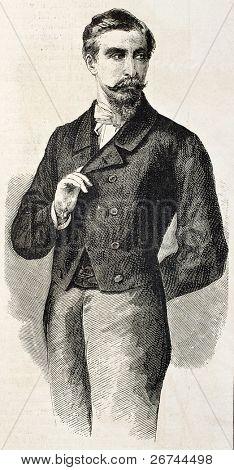 Viejo retrato grabado Príncipe San Cataldo, representante de Garibaldi en Francia. Después de la foto de Pesme un