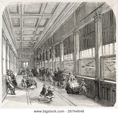 Aquarium interior in the Jardin d'Acclimatation, Paris. Created by Provost, published on L'Illustration, Journal Universel, Paris, 1860