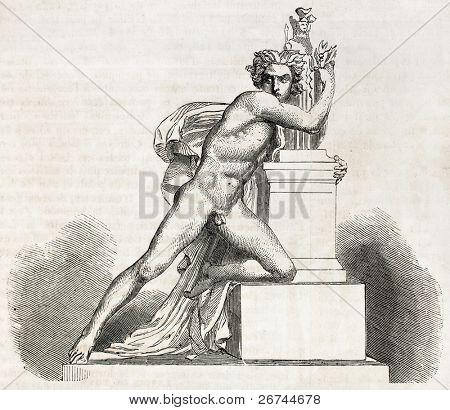 Orestes in the altar of Minerva. Created by Barthelamy, published on L'Illustration, Journal Universel, Paris, 1860
