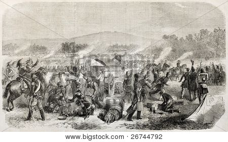 French army encampment old illustration. Created by Worms, published on L'Illustration, Journal Universel, Paris, 1860