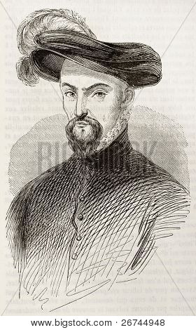 Henri de Lorraine, duc de Guise, old engraved portrait. After painting of Vien kept in Orleans museum, published on Magasin Pittoresque, Paris, 1843