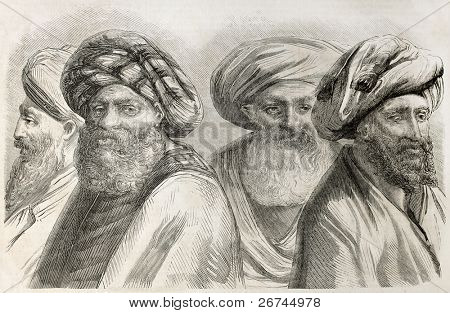 Druze men old illustration.  By unidentified author, published on L'Illustration, Journal Universel, Paris, 1860