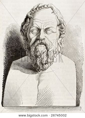 Socrates bust kept in Louvre museum, old illustration. By unidentified author, published on Magasin Pittoresque, Paris, 1843