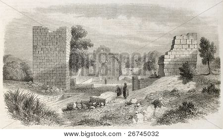 Diugh Kare ruins old view, Tunisia. Created by Crapelet, published on L'Illustration, Journal Universel, Paris, 1860