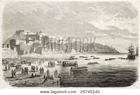 Neapolitan troops boarding after defeat in Milazzo quay, Sicily. Created by Gaildrau, published on L'Illustration, Journal Universel, Paris, 1860