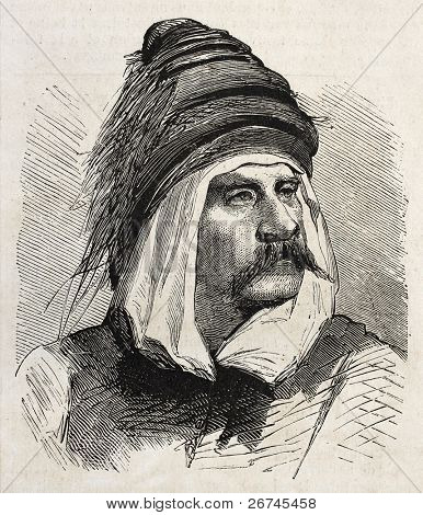 Bashi-Bazouk old engraved portrait (irregular soldier of Ottaman army). By unidentified author, published on L'Illustration, Journal Universel, Paris, 1860