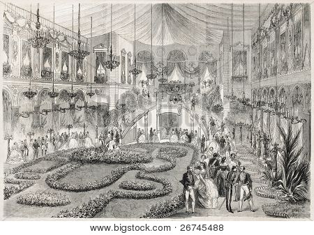 Napoleon III and Empress Eugenie at Grand Bal in Lyon city hall. Created by Steyert, published on L'Illustration, Journal Universel, Paris, 1860
