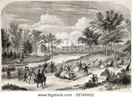 Jardin d'Acclimatation old view, Bois de Boulogne, Paris. Created by Provost, published on L'Illustration, Journal Universel, Paris, 1860