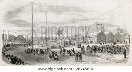 Vincennes shooting range old exterior view, France. Created by Provost, published on L'Illustration, Journal Universel, Paris, 1860